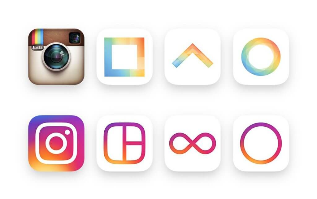 Icons of Instagram, Layout, Boomerang and Hyperlapse